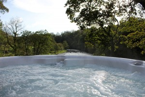 Private hot tub overlooking the river