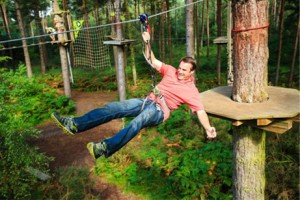 Zipwire fun from your log cabins with hot tubs